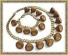 Vintage Book Chain Festoon Bib Necklace Carved Wood Art