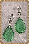Sterling & Green Etched Glass Drops Earrings