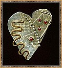 Modernist Sterling Pin Heart Gems Mixed Met*