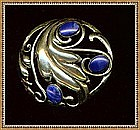 Vintage Sterling Silver Lapis Pin Swirl Leaf Unsigned