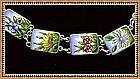 Vintage Hand Painted Enamel Ceramic Bracelet Flowers