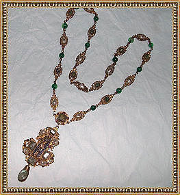 Austro Hungarian Necklace Beryl  Ruby Pearl