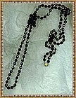 Vintage Black Glass Beads Necklace 5ft  Rope