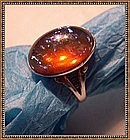 Vintage Sterling Ring Jelly Opal Art Glass Cab Bezel
