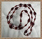 Vintage Art Deco Long Red Glass Necklace Beads 50