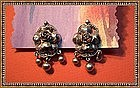 Vintage Peruzzi 800 Florence Italy Silver Ear Clips