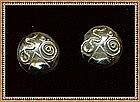 Vintage Signed Studio Dome Earrings Abstract Sterling