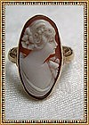 Vintage 15K Gold Ring Cameo Oval Sweet Profile Carved