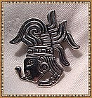 Hecho en Mexico Sterling Silver Pin Feathered Face APA