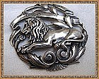 Vintage Peruzzi Sterling Silver Pin Brooch Lion Boston