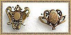 "1900 Art Nouveau Early 20th Gold Gilt Watch Pin ""C"" Duo"