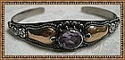 Vintage Sterling Silver Gold Cuff Bracelet Old Amethyst