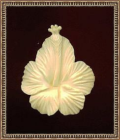 Vintage Signed Ming's Ivory Carved Hibiscus Pin Brooch