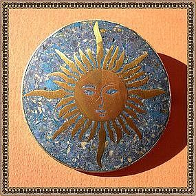 Vintage Mexico Sterling Mixed Metals Lapiz Sun Pin