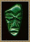Mexico Massive Malachite Carved Mask Face Pendant
