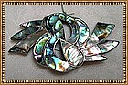 Taxco Taller CBA Swirl Abalone Inlay Sterling Pin