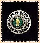 Vintage Sterling & 18K Gold Pendant Pin Malachite