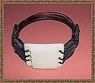 Vintage Adjustable Woven Elephant Hair Ivory Bracelet