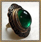 Vintage Art Deco Gold Gilt Brass Ring Green Glass Cab