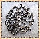 Vintage Cini Sterling Silver Scorpio Figural Pin