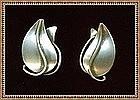 Vintage Modernist O Bade Orb Sterling Silver Earrings
