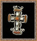 Signed MAT'L Mexican Sterling Silver Cross Coral MOP