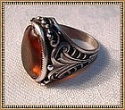 Vintage Sterling Ring Art Nouveau Motif Citrine Glass