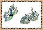 Vintage Mexican Sterling Double Heart Inlay Earrings