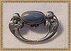 "Art Nouveau Arts Crafts Silver Pin Brooch Blue Cab ""C"""