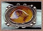 Vintage Amber Silver Ring 4 Hallmarks Substantial Cab