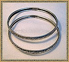 Vintage Sterling Silver Bangle Bracelet Danecraft Duo