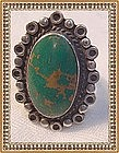 Vintage Native American Sterling Silver Ring Green Cab