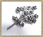 Vintage Mexican Pin Sterling Silver Turquoise Floral