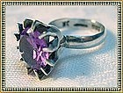 Vintage Silver Signed Mexican Syn. Alexandrite Ring JR