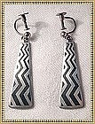 Vintage Sterling Silver Earrings Black Enamel Signd V B
