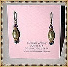 22K Gold Sterling Vermeil Earrings Green Pearl Plum
