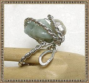 Signed MIMI DEE STERLING Silver Ring Aquamarine Pearl