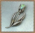 Arts Crafts Sterling Silver Pin Brooch Turquoise Tulip