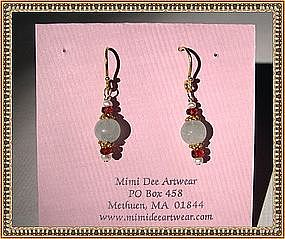 MIMI DEE 22K Vermeil Earrings Aquamarine Red Sapphire