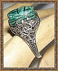 Vintage OB Ostby 14K White Gold Art Deco Ring Scarab