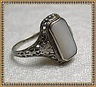 OB 10K White Gold Opal Ring Edwardian Filigree Fancy