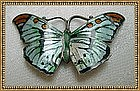 Vintage Sterling Enamel Butterfly Pin Signed