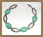 Green Peking Glass Art Deco Hammered Czecho Bracelet