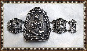 Vintage Gino M Peruzzi Sterling Silver Bracelet Figural
