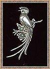 Vintage Huge Silver Made in Mexico Bird Parrot Pin