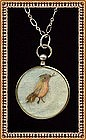 Vintage Antique F & B Sterling Silver Necklace Bird