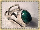 Vintage Sterling Silver Modernist Ring Green - ? Marks