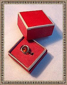 "Vintage 800 Silver Amber Ring ""MR"" in Signed Red Box"