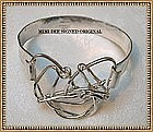 Signed Mimi Dee Sterling Silver Cuff Bracelet Hammered