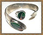 Vintage Arts Crafts Cuff Ring Set HANDWROUGHT STERLING